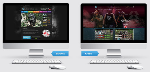 Before and After of Tactical Paintball Games Website